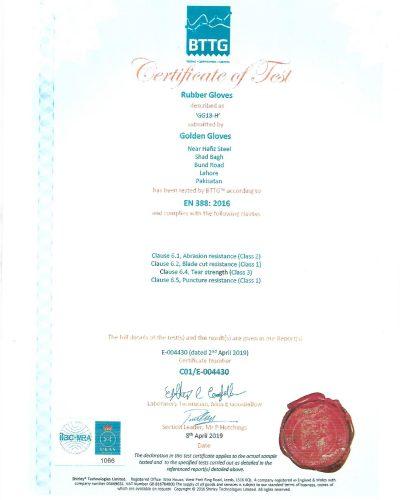 Certificate EN 388